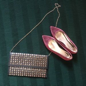 MMS black and gold studded clutch removable chain
